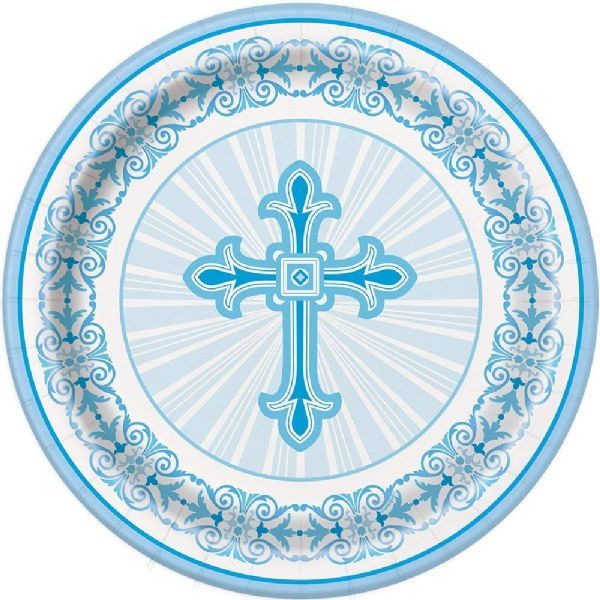 Blue Radiant Cross Plastic Tablecover